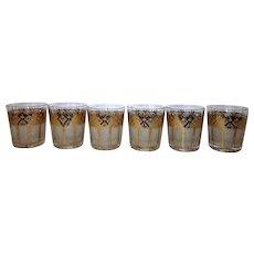 "Vintage MCM Washington Pasinski Encrusted ""Tiara"" Pattern Rocks Glasses (Set of 6)"
