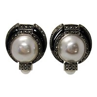 Vintage 80s-90s Judith Jack Faux Pearl Black Onyx and Marcasite Art Deco Revival Oversize Statement Glamorous Sterling Silver Earrings