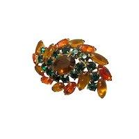 Vintage Midcentury Juliana D & E Delizza and Ester Autumn Tones Topaz and Emerald Glass Rhinesone Swirl Brooch Fall Colors
