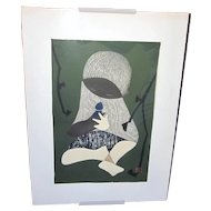 """1950s Midcentury Signed Kaoru Kawano """"Conversation"""" Japanese Woodblock Print of Young Child With Bird Forest Green Tones and Wood Grain"""