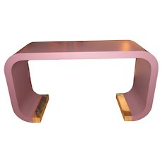 Vintage 1980s-1990s Postmodern Karl Springer Style Lavender Mauve Pink-Purple Waterfall Curved Silhouette Chrome Capped Console Table