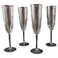 Vintage Krosno Poland Crystal Champagne Flutes (Set of Four)