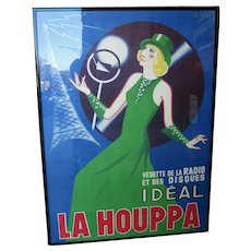 "Vintage 1930s French Art Deco Original Lithograph Poster ""La Houppa"" French Actor and Songstress Radio Star 1930s Fashion Showgirl Figural Large Format Poster in Frame"