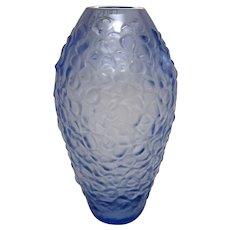 """Signed Lalique """"Violetta"""" Blue Floral Motif French Art Glass Crystal Bud Vase"""