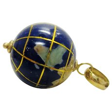 Michael Anthony 14K Yellow Gold & Lapis Natural Stone Inlay Globe Charm Pendant