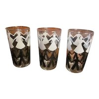 Vintage Libbey 1940's Tumbler Glasses with Black and White People - Very Rare Glassware - Set of 3