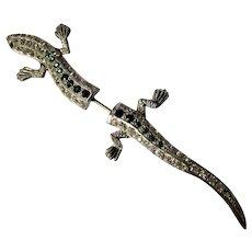 Vintage Rhinestone Lizard Stick Pin, Hat Pin, Brooch, Sweater Pin, Lapel Pin