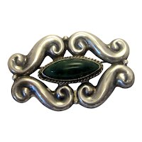Vintage Sterling Silver Artisan Mexican Sterling and Green Malachite Natural Stone Midcentury Style Brooch or Pin