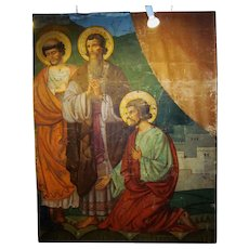 1930s Original Chicago Church Sanctuary Painting of Catholic Saints Classical Style Fine Oil on Canvas Religious Iconography Mural