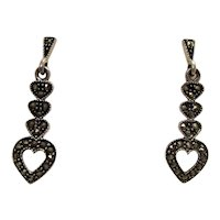 Sterling Silver and Sparkling Marcasite Art Deco-Inspired Stacked Heart Post Drop Earrings