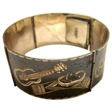 Vintage Sterling Silver Demascene Etched Mariachi Mexican Guitar Hinged Cuff Bracelet