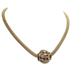 Modernist Simple Minimalist Sterling Mesh Chain Necklace with Fluted Ball Sliding Pendant Detail