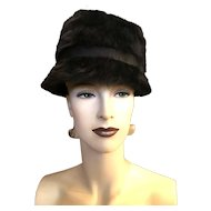 Vintage Christian Dior Miss Dior Black Angora Mod 1960s Audrey Hepburn Deep Cloche Hat with Bow