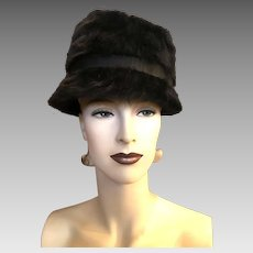 1b4e9bf7149 Vintage Christian Dior Miss Dior Black Angora Mod 1960s Audrey Hepburn Deep Cloche  Hat with Bow