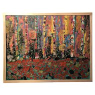 Contemporary Mixed Media Oil and Ceramic Abstract Nature-Inspired Painting