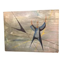 Vintage Midcentury Signed Large Modernist Geometric Figural Painting Signed Oil on Board
