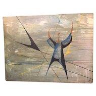 Vintage Midcentury Signed Large Modernist Geometric Figural Painting Signed Oil on Board