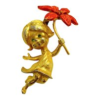 Vintage Mylu Signed Gold-tone Christmas Pin Brooch Girl With Red Poinsettia