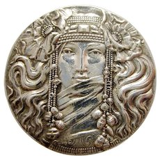 Antique Sterling Silver Figural Art Nouveau Woman Face with Flowers Unger Brothers Style Alphonse Mucha Style Pre-Raphaelite Lady Brooch Pin