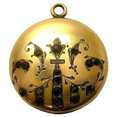 Art Nouveau Gold Filled Paste Locket Pendant