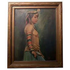 Vintage 1920s Framed Oil on Board Painting Young Nude Woman Egyptian Revival