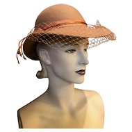 Vintage Tan 100% Wool 1940s-inspired 1970s Hat with Peach Orange Ribbon and Netting