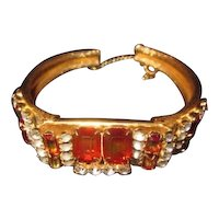Vintage Blood Orange Rhinestone Bracelet in Gold Tone Metal with Safety chain