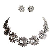 Vintage 1940s Late Art Deco Early Mid Century Signed ORA Floral Crystal Rhinestone Choker Necklace and Earrings Wedding Bridal Set