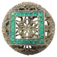 Vintage Emerald Green colored Faceted Rhinestones Channel Set Clip