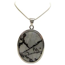 Stunning Vintage Modernist Style Gray Picasso Jasper Oval Pendant with Minimalist Sterling Settings on Liquid Sterling Chain