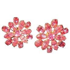 Vintage Sun/Flower Pink rhinestone Screwback Earrings
