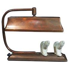 Art Deco Polar Bear Lamp Copper Desk Lamp