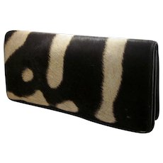 Vintage 1960s Midcentury Pony Hide Clutch Handbag Desert Style Mod Animal Print Leather Purse