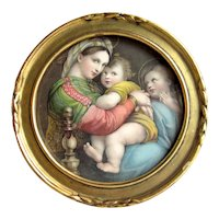 Vintage c. 1920s Miniature Raphael's Madonna and Child Print in Small Circular Gold Gilt Frame with Original Marshall Field's Label