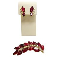 Vintage Juliana Red Bubble Glass in leaf form Demi Parure Brooch and Earrings
