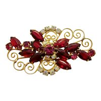 Vintage 1960s Juliana Ruby Red Faceted Navette Marquise Spray Brooch with Aurora Borealis Crystals and Swirling Gold Tone Detail
