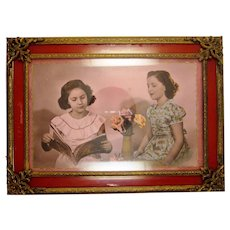 Vintage Reverse Painted Fuschia and Gold Gilt Miniature Glass Front Picture Frame with Fun Colorized Photo of Two Sister and Flowers