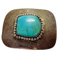 Vintage 1940s 1950s Sterling Silver Native American Artisan Made Robin's Egg Blue Turquoise Stone Brooch Pin