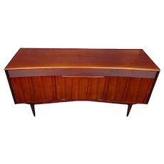 Vintage MCM Danish Modern Rosewood and Ribbon Mahogany Curved Credenza Sideboard or Bar and Liquor Cabinet