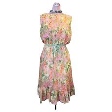 Vintage Late 1950s Early 1960s Saks Fifth Avenue Knife Pleated Floral Watercolor Print Chiffon Sleeveless Day Dress with Ruffled Hem