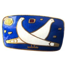 Outstanding Antique c. 1910s Vienna Secession Josef Hoffman Style Weiner Werkstätte Style Signed Enamel Brooch with Two White Doves