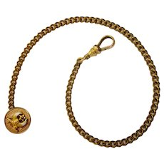 True Vintage Gold Plated Shriner's Masonic Watch Fob Chain with Enameled Shriner's Symbol Fob Charm