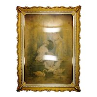 Vintage Ornate Picture Frame with 1930s NRA Label and Neoclassical Style Painting on Silk of Women and a Lagoon with Beautiful White Swans