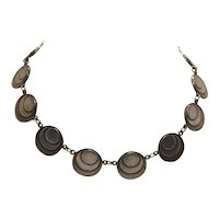 Vintage Art Deco c. 1930s Gunmetal Gray Silver Tone Stacked Medallion Machine Age Linked Panel Choker Necklace Collectible Rare Design