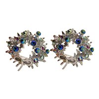 Vintage Silver-tone Sparkling Winter Christmas Wreath Clip-on Earrings With Festive Bow