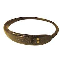 Vintage Hand Carved Horn Coiled Snake Bracelet - c.1920