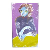 """1970s Vintage Suzanne Peters """"Woman at Yellow Table"""" Signed Oil on Canvas Expressionist Portrait Painting"""