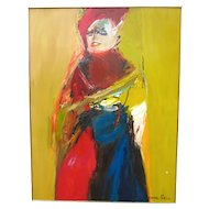 1970s Vintage Suzanne Peters Expressionist Style Portrait Oil on Board Painting