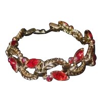 Vintage signed by STAR Red Marquis and Round Rhinestone Bracelet