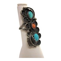 Vintage Statement Ring Sterling Silver Turquoise and Coral Native American Artisan Style with Feather Motif and Scalloped Cloud Shape Silhouette
